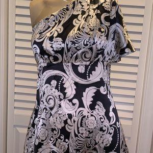 💯 silk one shoulder blouse